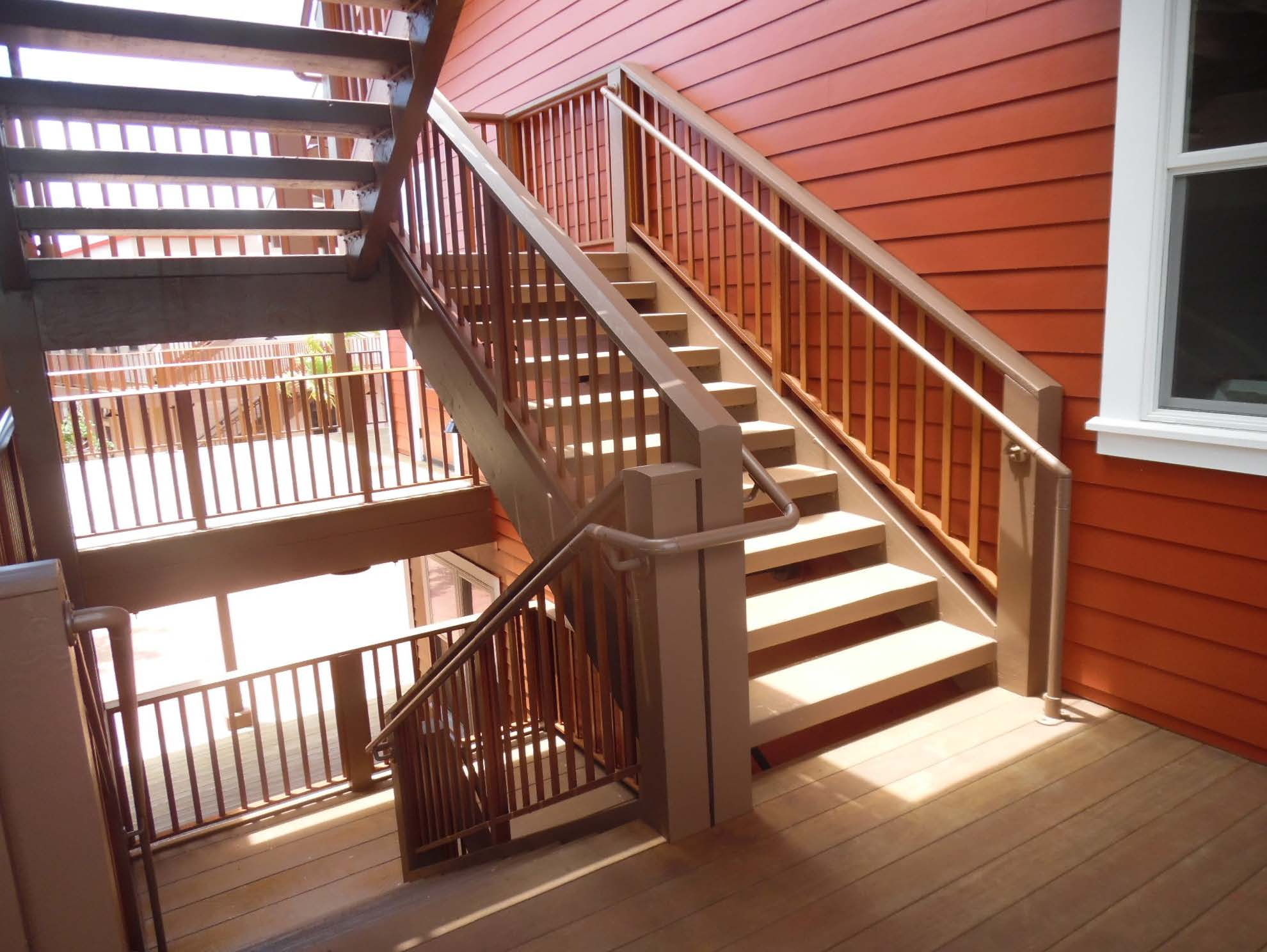 ADA compliant handrail on stairs switchback